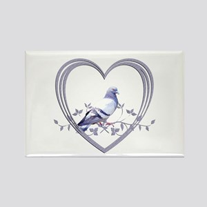 Pigeon in Heart Rectangle Magnet
