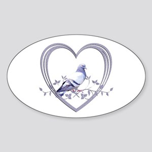 Pigeon in Heart Sticker (Oval)