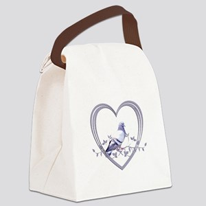Pigeon in Heart Canvas Lunch Bag