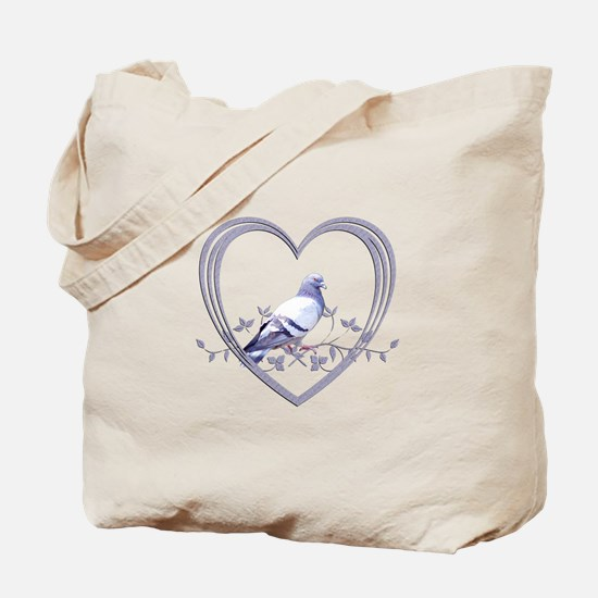 Pigeon in Heart Tote Bag