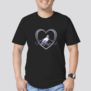 Pigeon in Heart Men's Fitted T-Shirt (dark)
