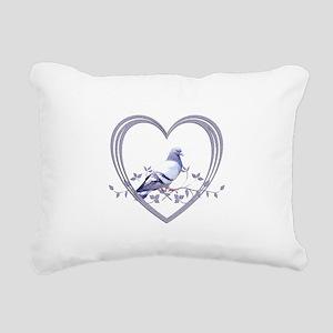 Pigeon in Heart Rectangular Canvas Pillow