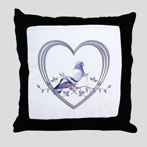 Pigeon in Heart Throw Pillow