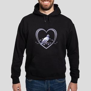 Pigeon in Heart Hoodie (dark)