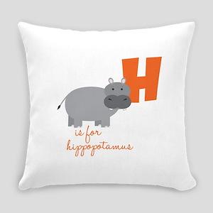 H Is For Hippopotamus Everyday Pillow