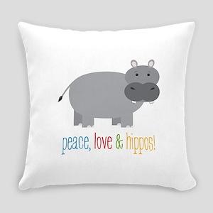 Peace, Love & Hippos! Everyday Pillow