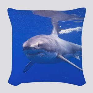 GREAT WHITE SHARK 4 Woven Throw Pillow