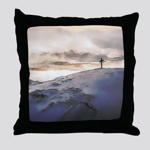 Christian Cross On Mountain Throw Pillow