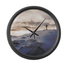 Christian Cross On Mountain Large Wall Clock