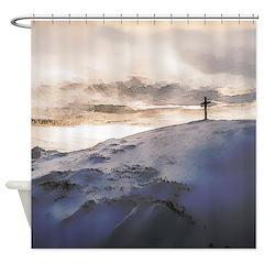 Christian Cross On Mountain Shower Curtain