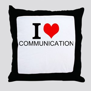 I Love Communications Throw Pillow