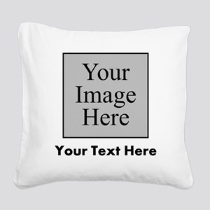 Custom Image And Text Square Canvas Pillow