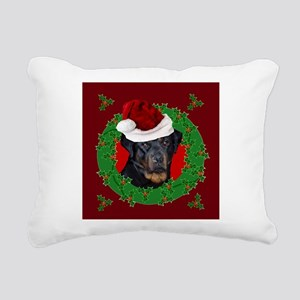 Christmas Rottweiler Rectangular Canvas Pillow