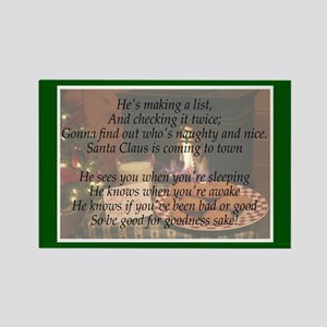 Santa Claus is Coming Rectangle Magnet
