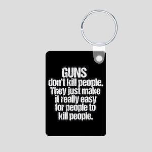 Guns Kill People Aluminum Photo Keychain