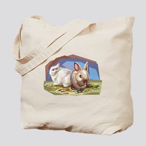 Brown & White Bunnies Tote Bag