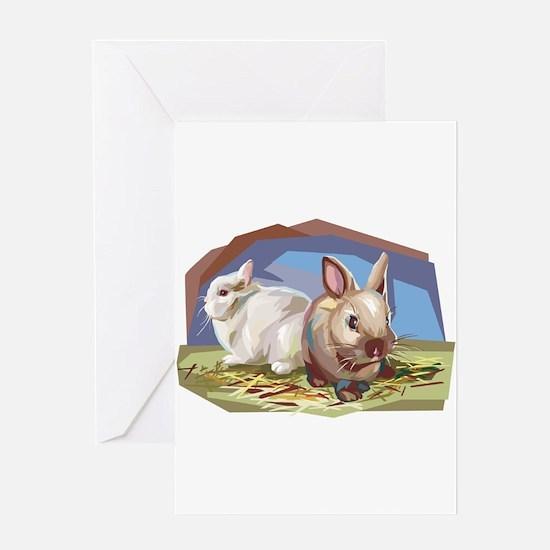 Brown & White Bunnies Greeting Card