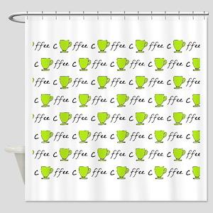 Coffee Mug Green Round Shower Curtain