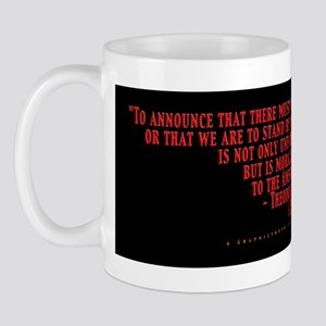 Teddy Says Red with White on Black Mug