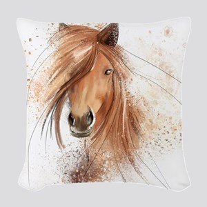 Horse Painting Woven Throw Pillow