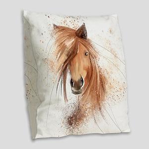 Horse Painting Burlap Throw Pillow