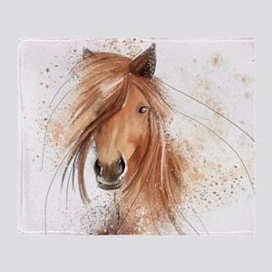 Horse Painting Throw Blanket