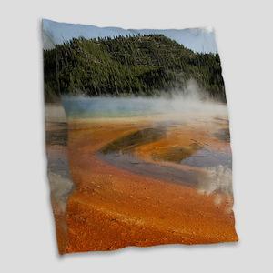 Grand Prismatic Spring Burlap Throw Pillow