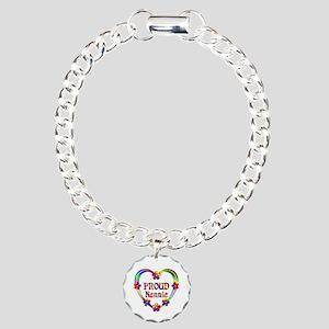 Proud Nannie Heart Charm Bracelet, One Charm