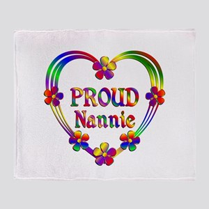 Proud Nannie Heart Throw Blanket
