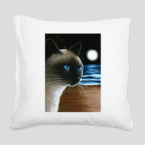 Cat 396 siamese Square Canvas Pillow