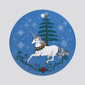 Holiday Unicorn Round Ornament