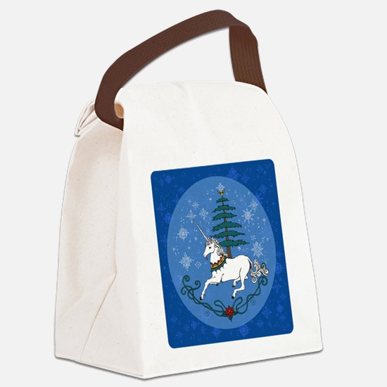 Holiday Unicorn Canvas Lunch Bag