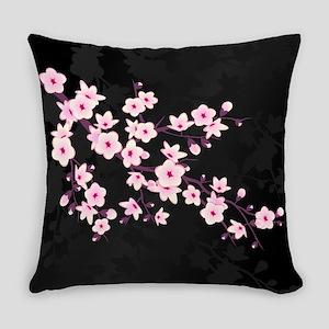 Cherry Blossom Pink Black Everyday Pillow
