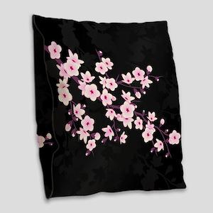 Cherry Blossom Pink Black Burlap Throw Pillow
