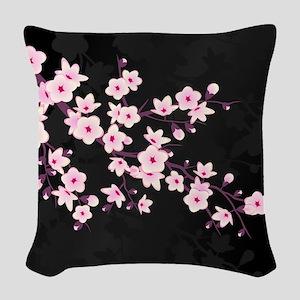 Cherry Blossom Pink Black Woven Throw Pillow