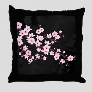 Cherry Blossom Pink Black Throw Pillow