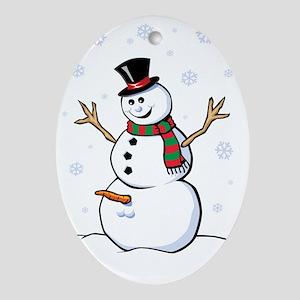 Naughty Snowman Ornament (Oval)