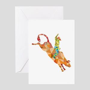 Rodeo Cowboy Bull Riding Low Polygon Greeting Card