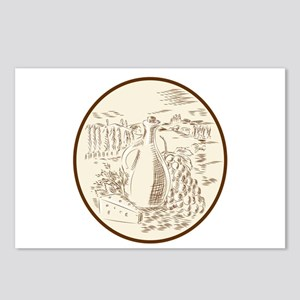 Olive Oil Jar Cheese Tuscan Countryside Etching Po