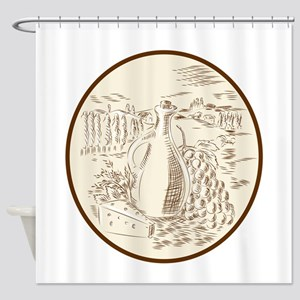 Olive Oil Jar Cheese Tuscan Countryside Etching Sh