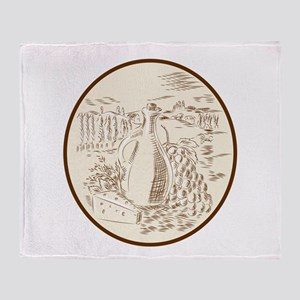 Olive Oil Jar Cheese Tuscan Countryside Etching Th
