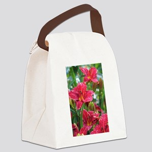 Christmas Red Daylilies Canvas Lunch Bag