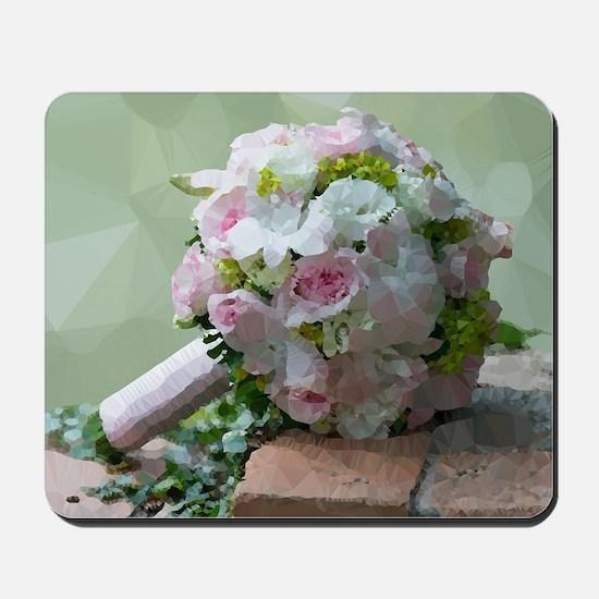 Pink Bridal Floral Low Poly Mousepad