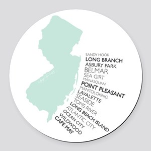 NJ SHORE Round Car Magnet