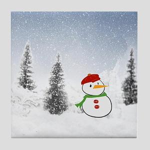 Adorable little snowman Tile Coaster