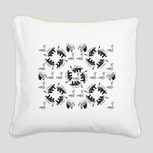 Honey Badger & Cobra Square Canvas Pillow
