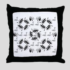 Honey Badger & Cobra Throw Pillow