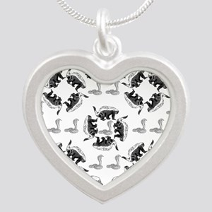 Honey Badger & Cobra Silver Heart Necklace