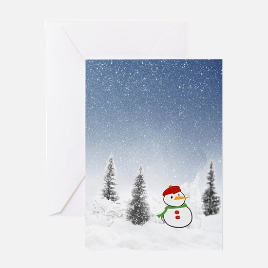 Adorable little snowman Greeting Cards