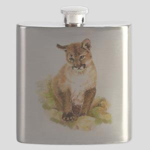 Watercolor Cougar, Puma, Mountain Lion Cub Flask